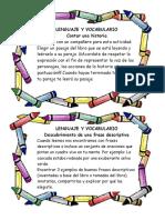 Tarjetas Lenguaje y Vocabulario