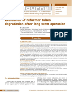 Evaluation of Reformer Tubes Degradation Afer Long Term Exposition