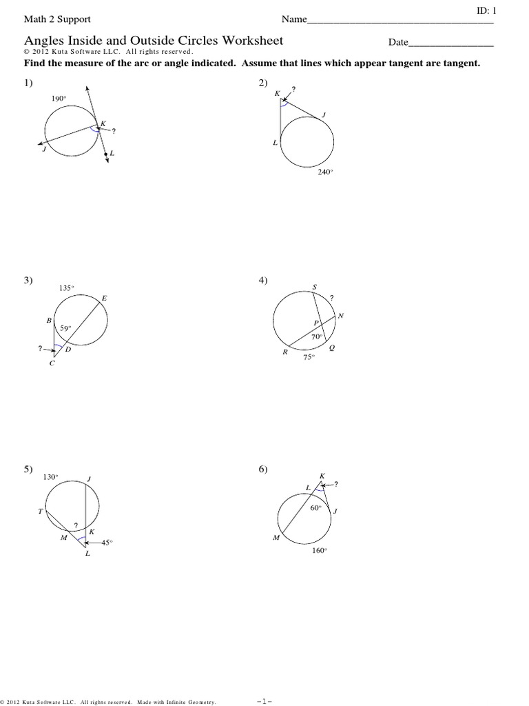 Printables of Unit Circle Worksheet Kuta Software