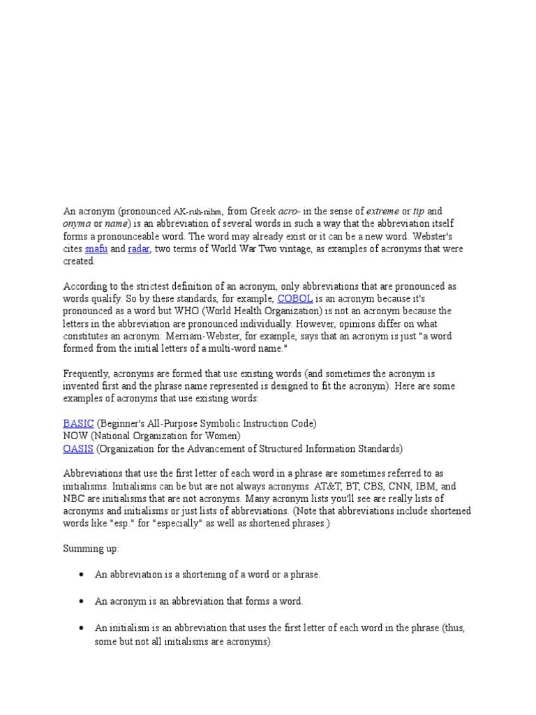 Acronyms Linguistics Rules