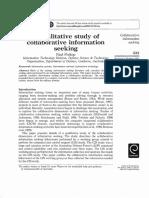 Prekop 2002 a Qualitative Study of Collaborative Information Seeking