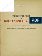 Théorie Et Pratique Du Collectivisme Oligarchique - J. B. E. Goldstein - 1948