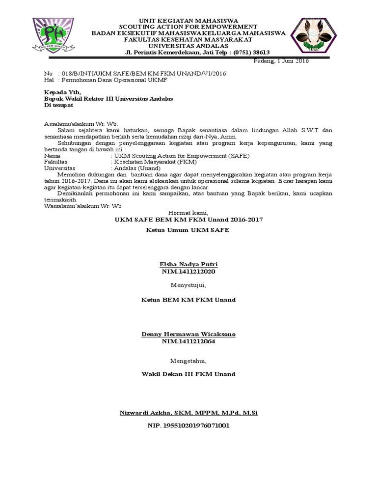 018 Surat Permohonan Dana Operasional Ukmf