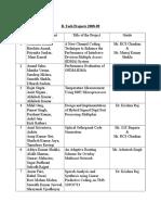 project list b tech