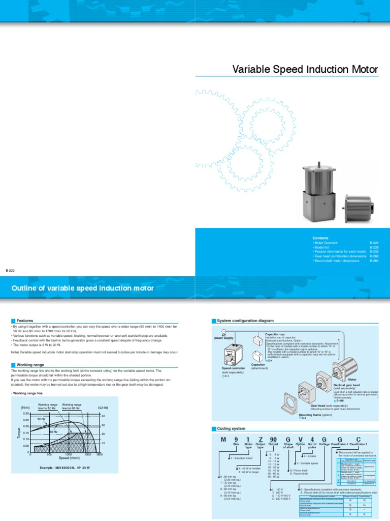 Variable Speed Motors Brochure | Gear | Feedback