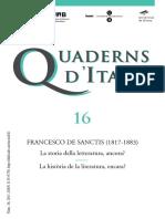 Cuaderns d'Italià - 16 (2011) - Francesco de Sanctis (1817-1883). La Storia Della Letteratura, Ancora¿