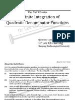 Indefinite Integration - Quadratic Denominator (N) - Questions
