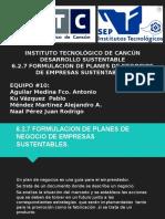 6.2.7 Formulacion de Planes de Negocio de Empresas Sustentables