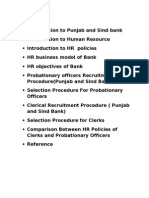 HR Policies of Punjab and Sind Bank