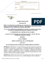DECRETO 2649 de 1993. Por El Cual Se Reglamenta La Contabilidad en General y Se Expiden Los Principios o Normas de Contabilidad Generalmente Aceptados en Colombia.