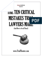 Ten Critical Mistakes at Trial
