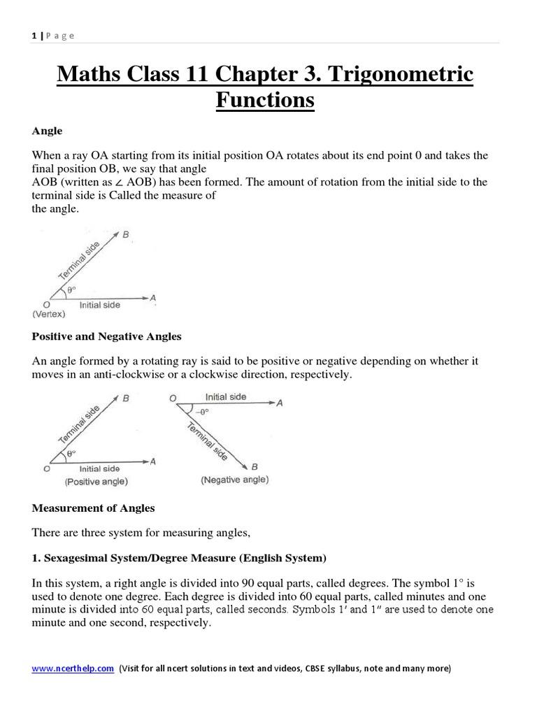 3 Trigonometric Functions Trigonometric Functions Angle