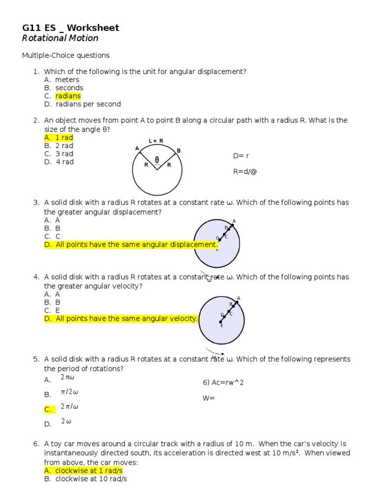 Worksheets Angular And Linear Velocity Worksheet Answer Key rotational motion worksheet acceleration velocity