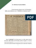 1883 Eminescu În Presa Italiană