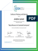 Certificate of Proficiency with Distinction - Natural Resources for Sustainable Development
