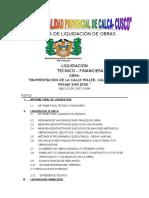 Indice de Calca Pavimentación de La Calle Miller, Calle Lima y Pasaje San Jose.