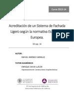Acreditación de un Sistema Fachada  Ligera según normativa europea y española