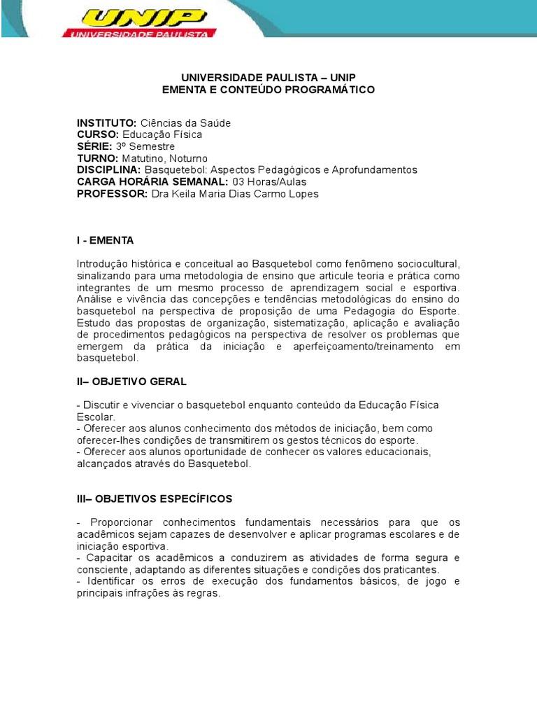 Plano de Ensino Basquetebol 375a786507dc9