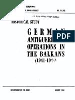 The German Antiguerrilla Operation in Balkan