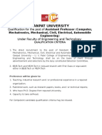 Qualification & Experience Criteria for Teaching Posts