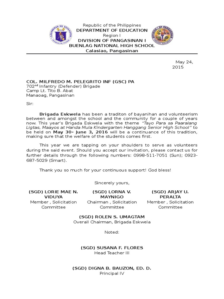 Letter Of Request To The Afp For Brigada Eskwela