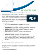 Information Sheet - Guidelines for Documenting Children's Learning
