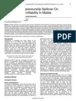Impact of Entrepreneurship Spillover on Organizations Profitability in Malete