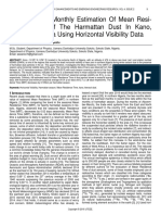 Seasonal and Monthly Estimation of Mean Resi Dence Time of the Harmattan Dust in Kano Northern Nigeria Using Horizontal Visibility Data