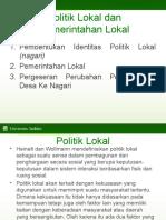 Kuliah Ke 4 Politik Lokal Dan Pemerintahan Lokal