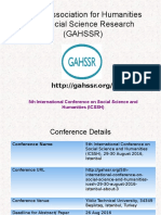 5th International Conference on Social Science and Humanities (ICSSH)