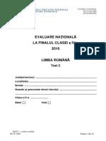 Evaluarea Nationala 2016 cls IV Limba Romana Test 2
