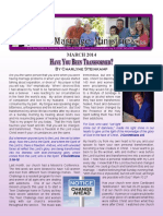 HaveYouBeenTransformed - Rejoice Ministriesnewsletter March 2014