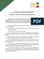 Communiqué de presse du conseil départemental de Côte-d'Or