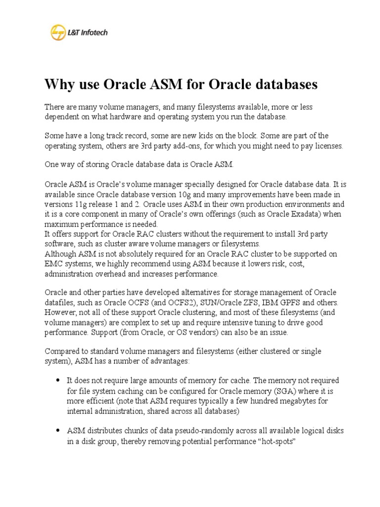 ASM Overview   Oracle Database   File System