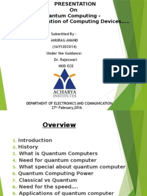 Quantum Computing Ppt | Quantum Computing | Quantum Mechanics