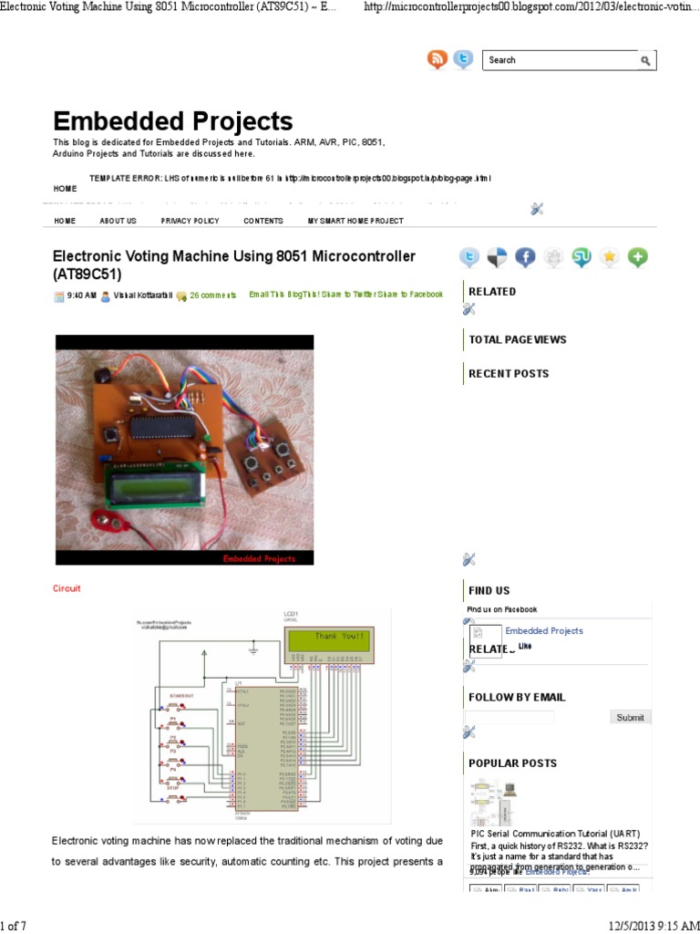 Electronic Voting Machine Using 8051 Microcontroller At89c51 Crystal Circuit Embedded Projects Pic