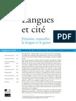 Langues Et Cité - Féminin, Masculin - La Langue Et Le Genre