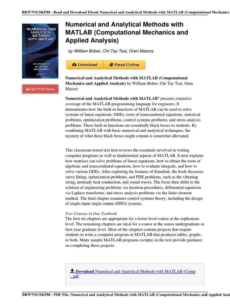 Numerical Analytical Computational Mechanics Analysis 1420093568