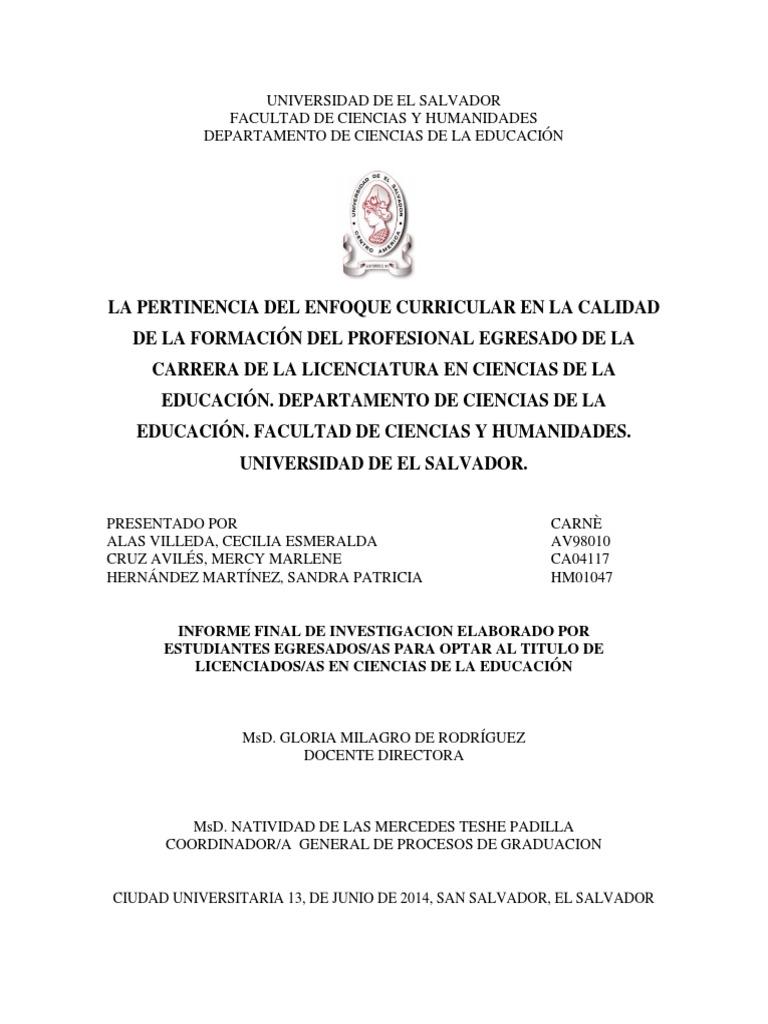 La Pertinencia Del Enfoque Curricular en La Calidad de La ...