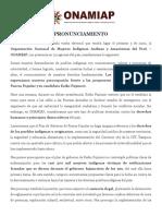 Pronunciamiento Onamiap Elecciones 2016