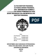 Instabilitas Sektor Finansial Indonesia Paska-Krisis Finansial Global 2007, Menemukan Kembali Penguatan Peran Pemerintah Dan Bank Indonesia Dalam Meregulasi Sektor Finansial