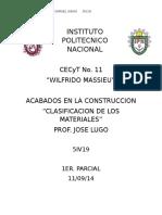 Clasificacion de Los Materiales.