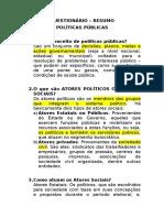 Questionário Resumo Políticas Públicas