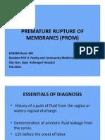Premature Rupture of Membranes (Prom)
