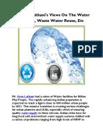 Mr Arun Lakhani's Views on the Water Industry, Waste Water Reuse, Etc