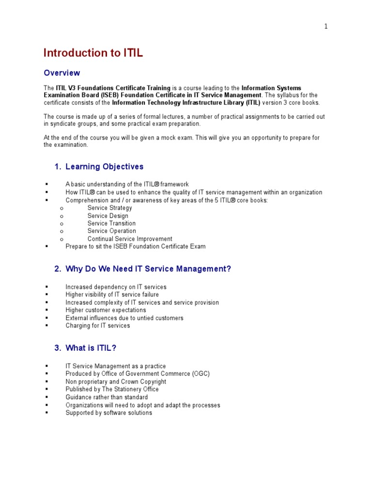Introduction to itil itil service level agreement xflitez Choice Image