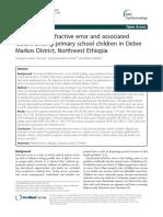 Uncorrected refractive error and associated factors among primary school children in Debre Markos District, Northwest Ethiopia