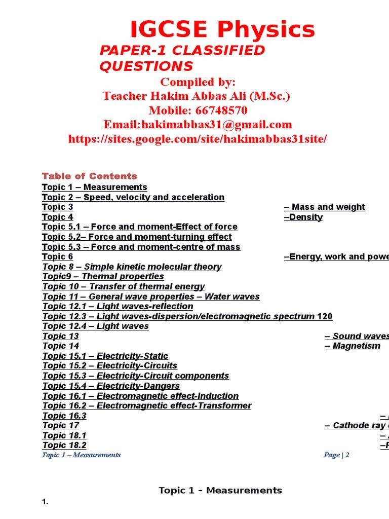 238850577 IGCSE Physics Paper 1 Classified | Acceleration