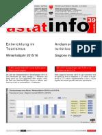 ASTAT Tourismuszahlen Südtirol Winterhalbjahr 2015/2016 ASTAT Tourismusmit39_2016