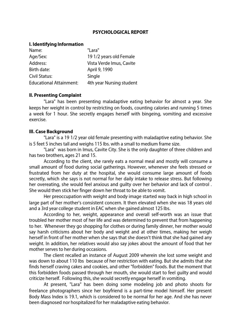 Psychosocial Report (Psychological Report) | Bulimia Nervosa | Eating